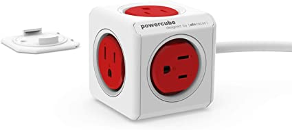 PowerCube Original USB Cobalt Red 4 Outlet Power Adapter with Dual 2 USB