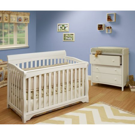 4-in-1 Convertible Crib White Color, Toddler Bed DayBed, Full-Size Bed, Made of Pine Wood, Fixed-side Crib, Baby Furniture, 2 Adjustable Mattress Heights, Baby Convertible Crib,BONUS e-book (Care Fixed Side Child Crib)