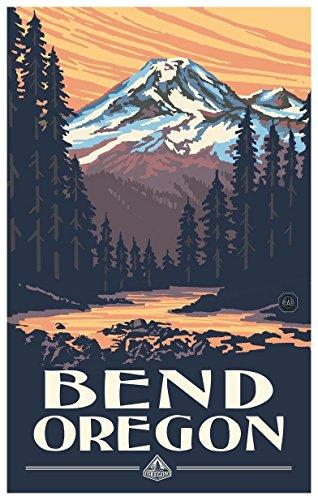 Bend Oregon Mountain Sunset Travel Art Print Poster by Paul A. Lanquist (12