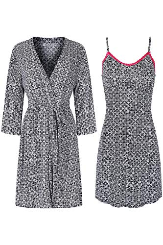 SofiePJ Women's Printed Chemise and Robe 2 Piece Sleepwear Set Black White M