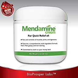 Mendamine Cream Multi-ingredient Pain Relief Cream for Tennis Elbow, Golf Elbow, Carpal Tunnel Syndrome, Bursitis, Tendonitis, Arthritis, Sciatica, Plantar Fasciitis, Shin Splints, Neuropathy, Fibromyalgia, Sore Back, Sore Neck, Golfers Elbow, Repetitive