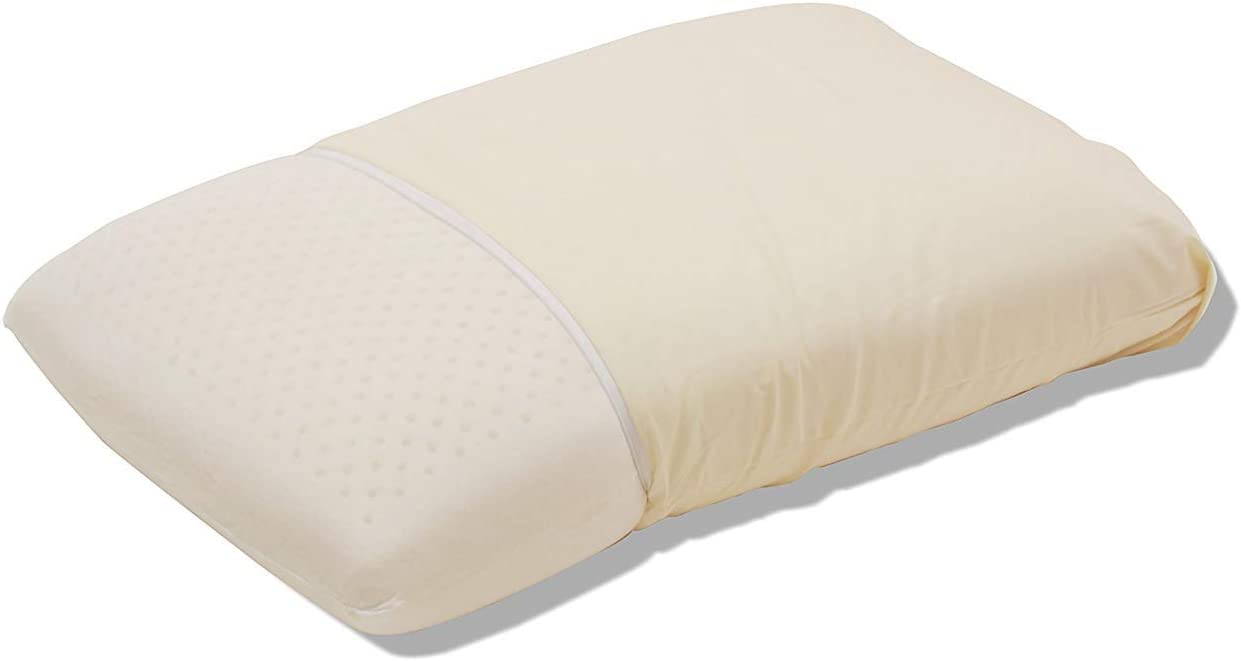 QIQIHOME All Natural Latex Pillow for Sleeping Comfort, with Zippered Removable Cotton Cover, Neck Pain Relief, 23.4X 15.6X 3.9 inch Standard Size- Medium Firm