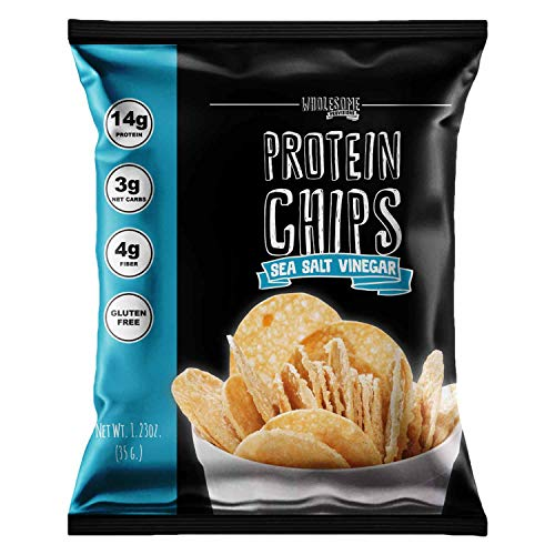 Protein Chips, 14g Protein, 3g-4g Net Carbs, Gluten Free, Keto Snacks, Low Carb Snacks, Protein Crisps, Keto-Friendly, Made in USA (Sea Salt Vinegar, 4 Pack)