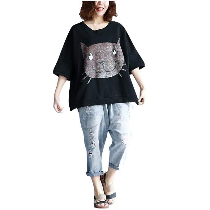 Grea Verano Mujer Camiseta de Algodón Coreano Kawaii Gato de Dibujos Animados Camiseta Estampada Mujeres Tallas