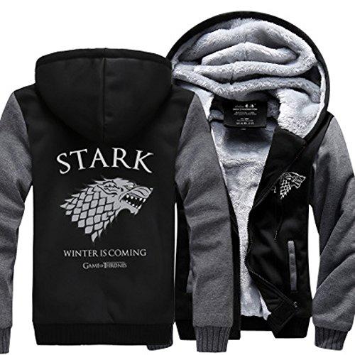 House Stark Men Sweatshirt Winter Is Coming Hoodie spring winter warm fleece thicken men jacket Zipper coat,