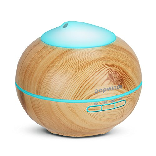 Popwinds Essential Oil Diffuser Ultrasonic Aroma Humidifier Cool Mist Air Purifier with 7 Colors Light, Auto Shut-Off and Adjustable Mist Levels for Bedroom, Office or Spa-Dark Wood Grain