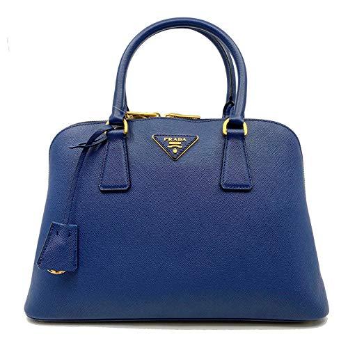 Prada Bluette Saffiano Lux Leather Promenade Satchel Bag 1BA837 F0016