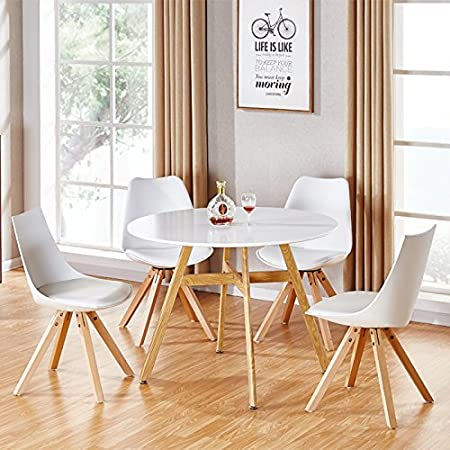Designetsamaison Table A Manger Ronde Scandinave En Bois 100cm