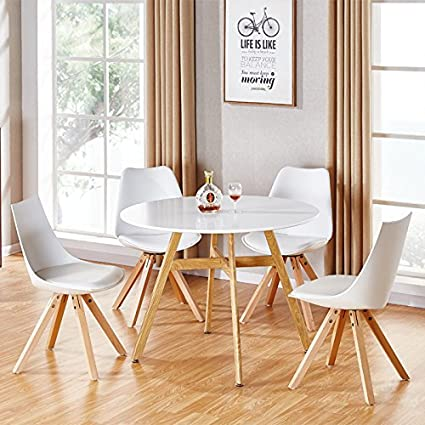 Designetsamaison Table à Manger Ronde Scandinave En Bois 100cm Umbria