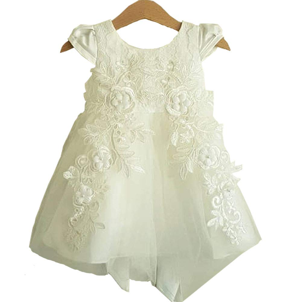 Michealboy White Baptism Gown Round Neck Baby Girl Satin Lace Christening Dress