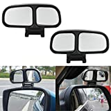 1 Set Car Auxiliary Chrome Blind Spot Mirror, ECLEAR Universal Rear Side 360°Wide Angle View Mirrors for Vehicle Suv Truck Motorcycle Fit Stick-on Design, Black