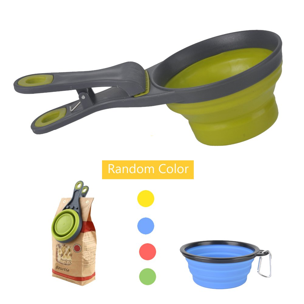 Lifeunion 2 in 1 Collapsible Travel Clip Food klipscoop Measuring Cups for Pets Puppy Dog Cats with a Collapsile Bowl for Free