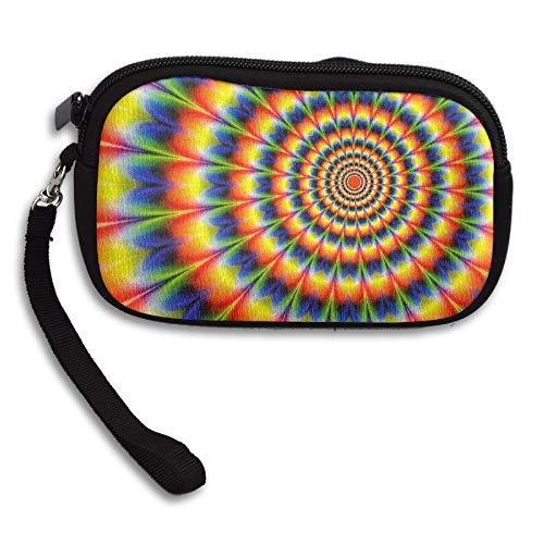 Radial Clutch - RobotDayUpUP Tie Dyed Radial Pattern Wristlet Clutch Bag Handbag Zipper Purse Wallet with Strap