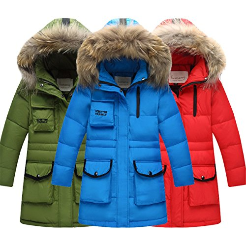 JELEUON Big Girls Zipper Pocket Hooded Fur Trim Long Drawstring Winter Warm Snowsuit Puffer Down Jacket Coat Outwear
