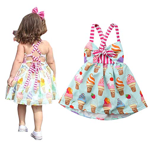 2019 Baby Girl Cream Ice Cream Print Summer Backless Sunderss Halter Sling Beach Dress (Blue, 6-12 Months) ()