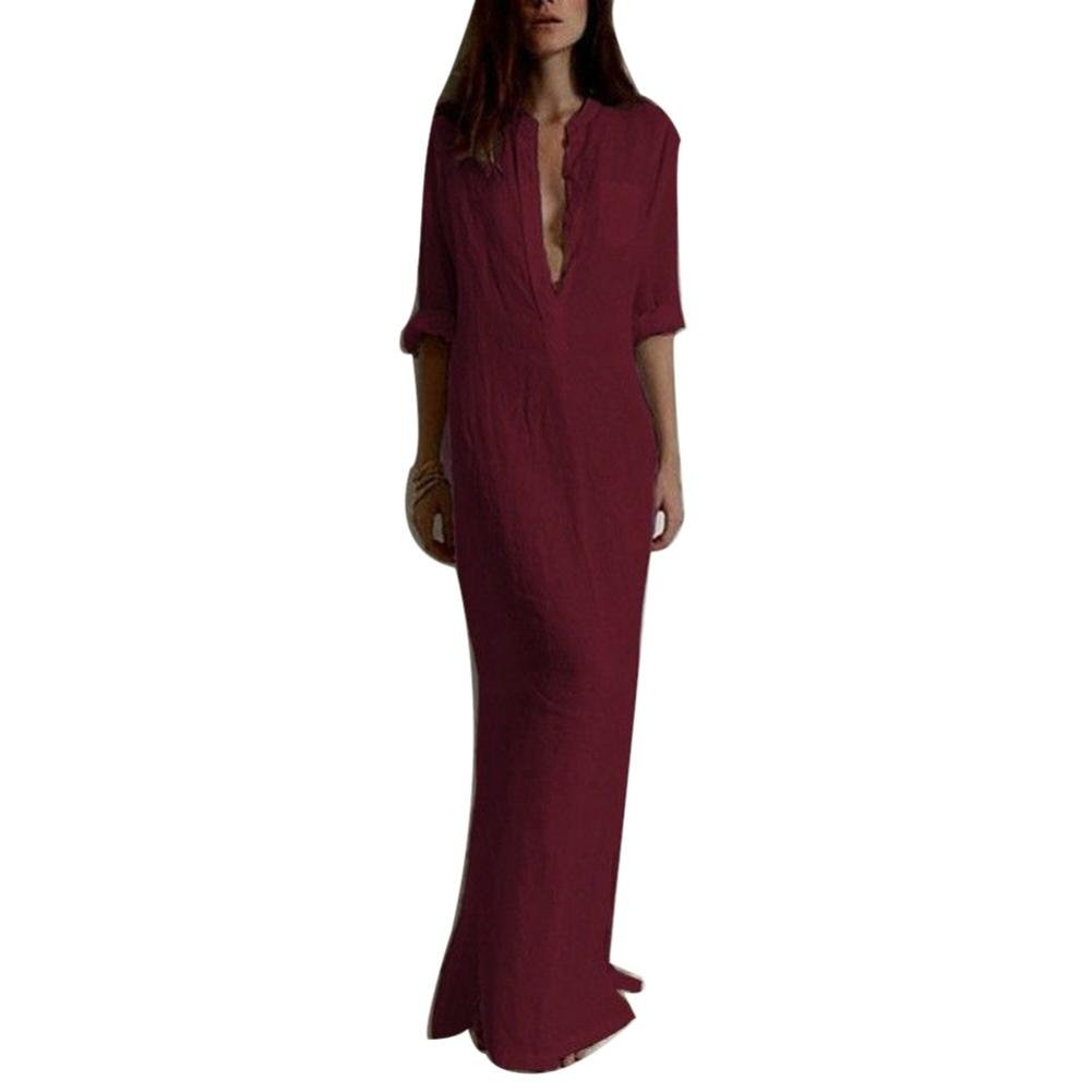 Usstore Women Casual Long Sleeve V-neckline Solid Long Maxi Dresses