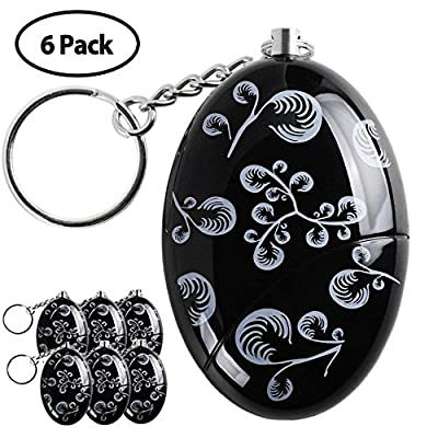 Personal Alarm,6 Pack 120 dB Personal Alarm Keychain Emergency Safety Self Defense Keyring Batteries Included Black
