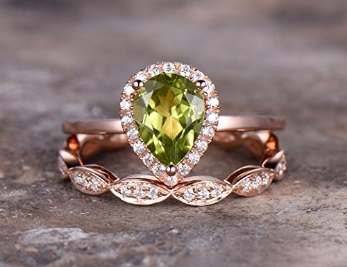 2pcs Pear cut wedding ring set,Green peridot Engagement ring,rose gold plated,925 sterling silver stacking,Man Made diamond CZ ring,any size by BBBGEM