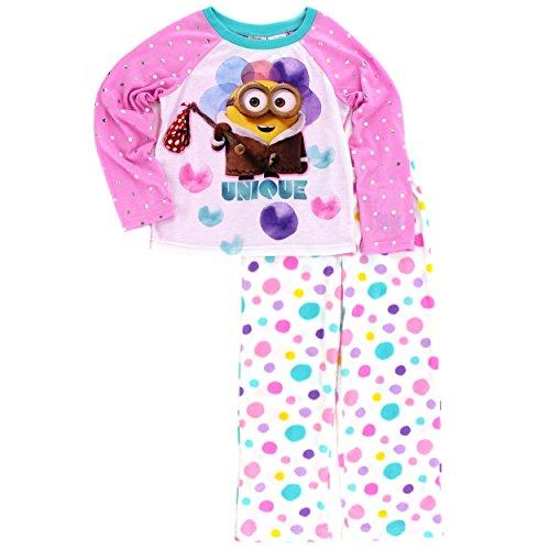 Despicable Me Minions Girls Poly Top Fleece Pants Pajamas (10-12, Unique Pink) (Pink Minion)