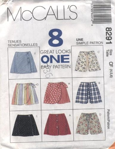 McCall's 8 Great Looks in One Girls Skort Sewing Pattern #8291