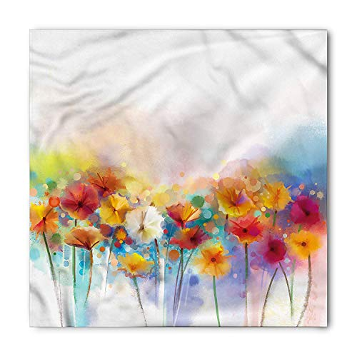 Flower Bandana, Gerbera Flower Bouquet, Unisex Head and Neck Tie M 100cmx100cm