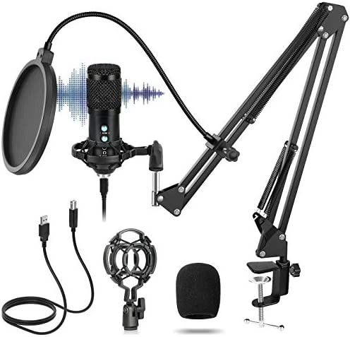 USB Microphone Kit 192KHz/24bit Zero Latency Monitoring Professional Studio Podcast Cardioid Condenser Microphone Bundle for Computer Plug&PlayAdjustable Stand Suspension Scissor Boom Arm Shock