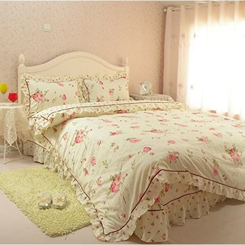 100% Cotton Princess Style Pink 4 Pieces Girls Floral Lacelike Duvet Cover Set, No Comforter (Twin XL, Beige)