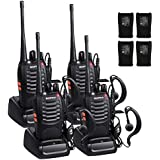 Sunreal Walkie Talkies 4pcs UHF 400-470Mhz Rechargeable Long Range Portable Handheld Two Way Radio CTCSS DCS with LED Light for Camping Hiking Hunting Travelling