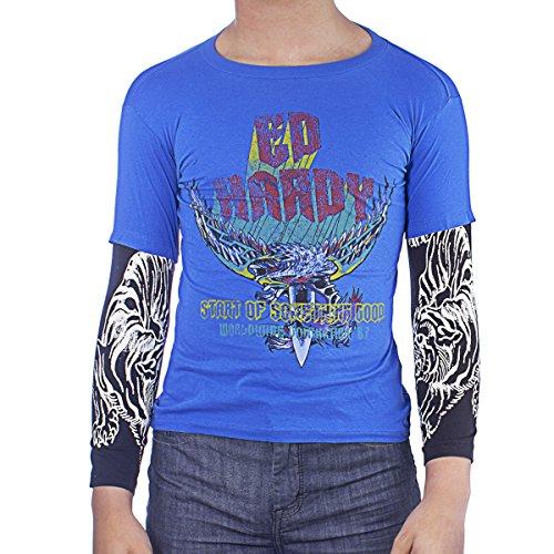 Ed Hardy Kids Long Sleeve Eagle/Swords T-Shirt -Blue - - Sword Ed Hardy
