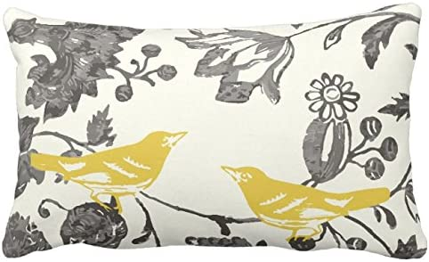Amazon Com Uoopoo Trendy Yellow Gray Ivory Vintage Floral Bird Lumbar Throw Pillow Case Square 12 X 18 Inches Soft Cotton Canvas Home Decorative Wedding Cushion Cover For Sofa And Bed One Side