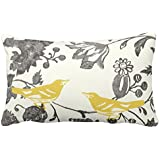 UOOPOO Trendy Yellow Gray Ivory Vintage Floral Bird Lumbar Throw Pillow Case Square 12 x 16 Inches Soft Cotton Canvas Home Decorative Wedding Cushion Cover for Sofa and Bed One Side