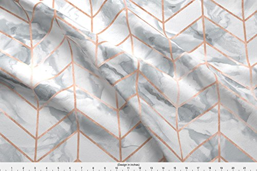 Spoonflower Carrera Marble Herringbone/Rose Gold Gilt by willowlanetextiles - Custom Fabric with Printed on Basic Cotton Ultra Fabric by the ()