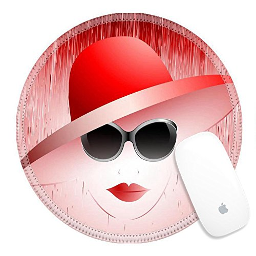 Luxlady Natural Rubber Round Gaming Mousepads beautiful girl in a red hat and sunglasses IMAGE ID - Id Sunglasses Price