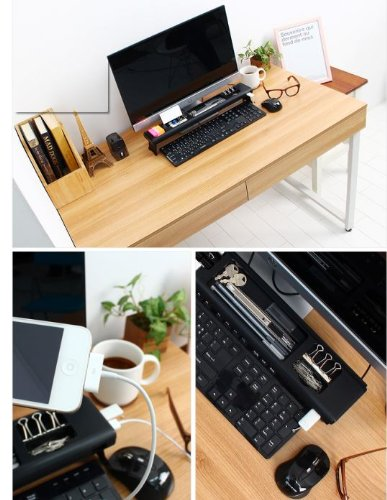 Cyanics iStick Mini Multifunction Home or Office Desk Organizer, Cubicle Accessory with 4 Port USB HUB, Storage Space for Memo Pads. Pens, Paper Clips and More