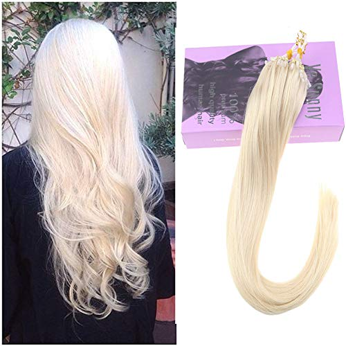 VeSunny 14inch #60 Platinum Blonde Micro Loop Hair Extensions Remy Human Hair with Micro Beads Silky Straight Real Hair Loop Micro Ring Hair Extensions 1G 50 Strands