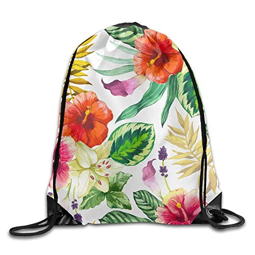 Unisex Hawaii Tropical Flower Print Drawstring Backpack Rucksack Shoulder Bags Gym Bag Sport Bag (Bag Hawaii)
