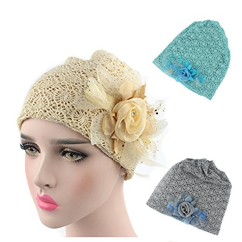 [Ever Fairy 2 Colors Pack Chemo Cancer Head Scarf Hat Cap Ethnic Lace Flower Print Turban Headwear Women Stretch Flower Muslim headscarf (2 colors back] (Ethnic Hats)