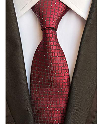 - Men's Classic Burgundy Red Tie Jacquard Woven Silk Necktie + Gift Box