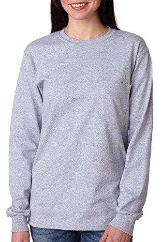 Gildan mens Ultra Cotton 6 oz. Long-Sleeve Pocket T-Shirt(G241)-SPORT GREY-2XL