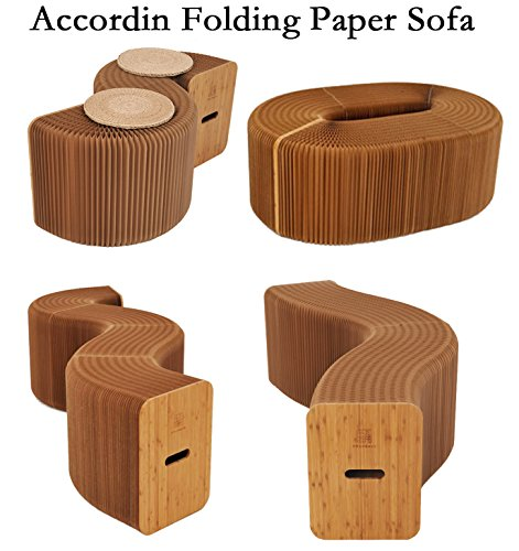 AlienTech Home Furniture Softeating Modern Design Accordin Folding Paper Stool Sofa Chair Kraft Paper Relaxing Foot Stool-Fashion Paper Design, Ideal for School, Kitchen ,living & Dining Room by Ihpaper