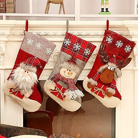 Leisial Chaussettes de no/ël /à Suspendre Petit Sac Cadeau de No/ël Bas de No/ël D/écoration Toile Motif Elk Arbre de Noel