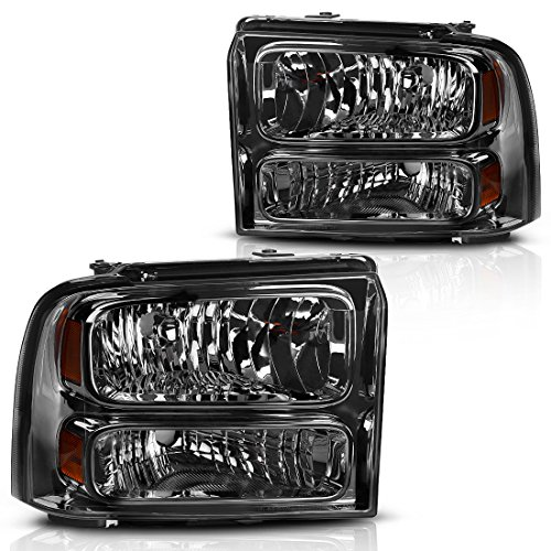 Headlight Assembly for 2005 2006 2007 Ford F250 F350 F450 F550 Super Duty / 2005 Ford Excursion OE Headlamp Replacement,Smoked Housing