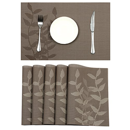 Pauwer Placemats Set of 6 Woven Vinyl Placemat for Dining Ta