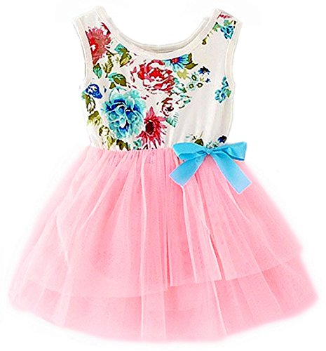 Floral Tulle (2Bunnies Baby Girls Floral Flower Girl Dress Tulle Tutu Birthday Party Sundress (18M, Bubble Sweet Pink))