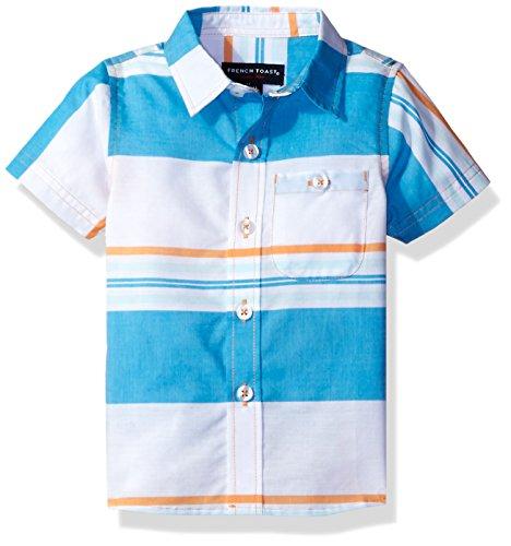 French Toast Baby Boys' Short Sleeve Woven Poplin Shirt, Autumn Glory, 24M -