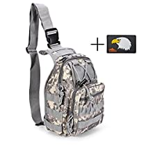 Tactical Backpack, Daily Bag Military Sport Pack Shoulder Bag Sling Chest Daypack for Camping Hiking