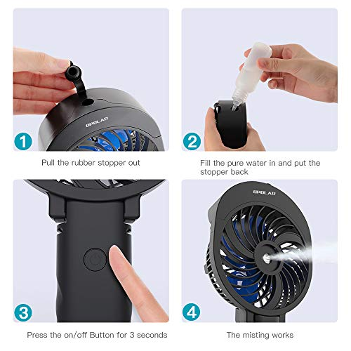 OPOLAR Handheld Misting Fan, 2600mAh Battery Operated Portable Fan with Personalized Cooling Humidifier, Water Spray Fan, Quiet USB or Rechargeable Battery Powered, 3 Settings Mini Mister Fan