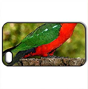 AUSTRALIAN KING PARROT - Case Cover for iPhone 4 and 4s (Birds Series, Watercolor style, Black)