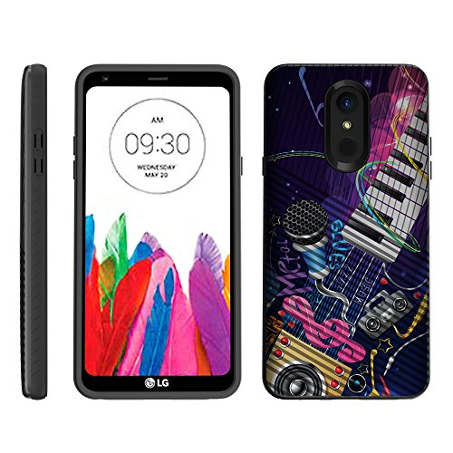 TurtleArmor   Compatible for LG Stylo 4 Case   Q Stylus Case   Stylo 4 Plus Case   Slim Armor Hybrid Dual Layer Engraved Grooves Shell Case Music Design - Music Band