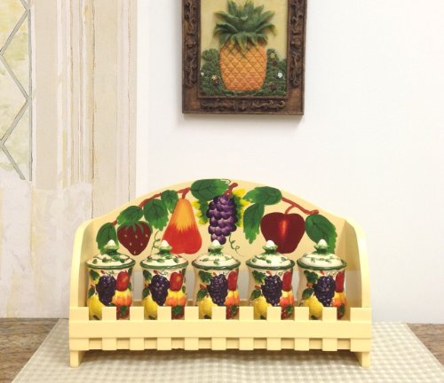 3-D MIxed Fruit Ceramic 5-Piece Spice and Rack, 87044 by (Apple Canister Sets)